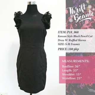 Korean Style Black Pencil Cut Dress W/ Ruffled Sleeves