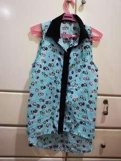 Cute blue owl sleeveless