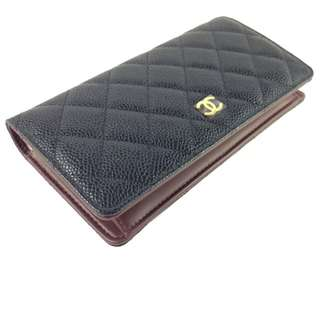 【巴黎7月快閃代購】CHANEL A31509 BLACK CAVIAR LEATHER QUILTED YEN LONG WALLET