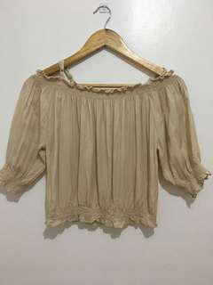 Beige Offshoulder blouse