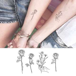 BN instock Temporary Tattoo Temp Tattoos Hand Floral Wild Nature Rose Lines