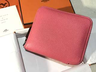 8W Hermes Short Silk In Wallet Rose Azalea