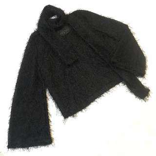 Black Fur Scarf Bell Sleeve Autumn Winter Top