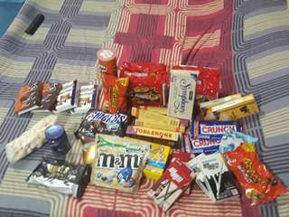 All types of chocolates/sweets and samyang!