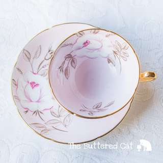 Beautiful pale pink vintage English bone china cabinet cup and saucer, fully hand-painted