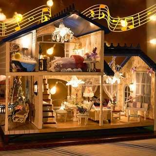 Music LED Light Miniature Doll House Provence Dollhouse DIY