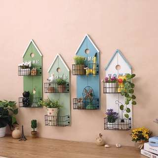 Zakka farmhouse style wooden double shelf mini house design