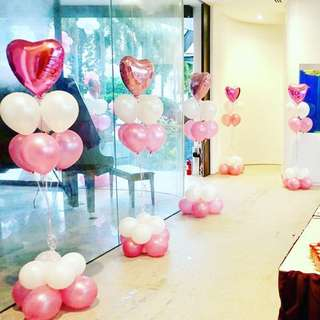 Heart Foil with Latex Balloons Bouquet with 2 Tier Base