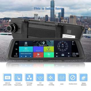 """10""""inch IPS Full Touch Screen Front & Rear Car Mirror DVR Recorder (Full-HD 1920x1080 Resolution/Wide-Angle/Starlight Night Vision/Dual-Lens/Loop-Recording/Gravity-Sensor/Motion-Detection)"""