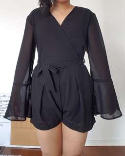 Black Bell-sleeve Romper - Small
