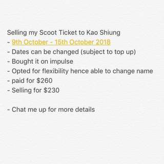 Scoot Tickets to Kao Shiung