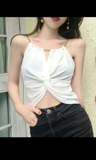 Preorder korean uzzlang sexy chain straps sleeveless top* waiting time 15 days after payment is made * chat to buy to order