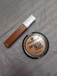 Maybelline liquid lipstick and essence highlighter