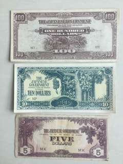 Authentic 1942 Singapore 🇸🇬 World War 2 Japanese 🇯🇵Government Bank Notes