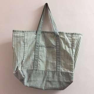 灰色條紋帆布袋(賣40、有購入其他商品直接送!)
