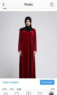 Velvet red dress with pearl