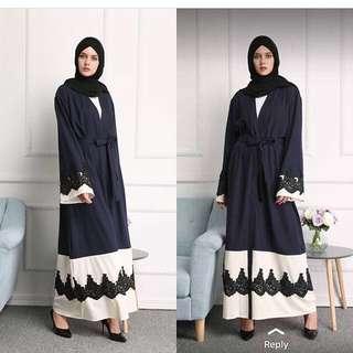 SALE Abaya dubai navy white black lace