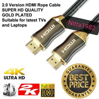 HDMI To HDMI Rope Cable, 2metres. BEST BUY.