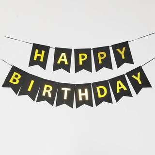 🚚 Black Happy Birthday Banner