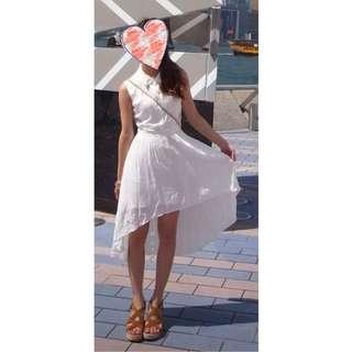 Lagunamoon白色雪紡前短後長洋裝