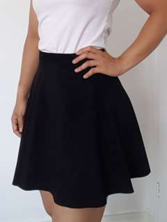 American Apparel Black Suede Skater Skirt - Size Small