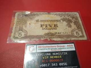 Duit Lama Malaya Japanese Occupation Money $5 Dollar with Series No 1941