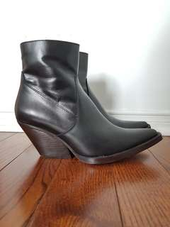 Zara Leather Black Booties - Size 7