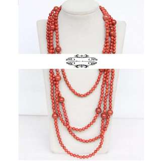 Multi strand Lustrous Natural Genuine Red Coral Long Necklace 多層天然真紅珊瑚長項鍊