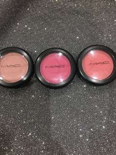 MAC Powder Blush (L-R: Mocha (Matte), Full Fuchsia (Satin), Dollymix (Sheertone Shimmer Blush))