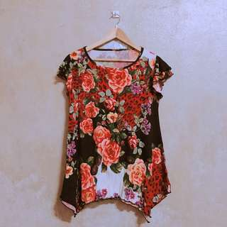 Red/Peach and Black Floral Top