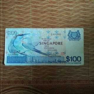 Bird series Old Note $100 Singapore Legal Tender