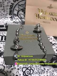 (最後3對) 購自英國 2017秋冬 Vivienne Westwood BROKEN PEARL 珍珠長耳環 (保証正貨及全新)銀灰色