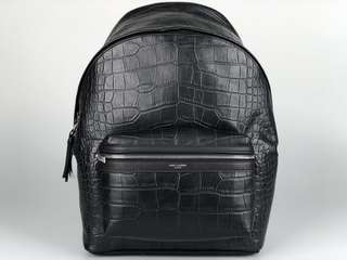 🚚 Saint Laurent City Backpack in Black Crocodile Embossed Leather