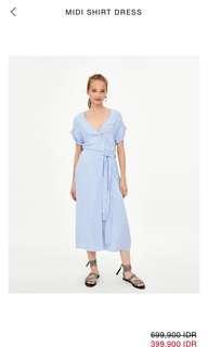 Zara Shirt Midi Dress in Stripe ( light blue and white)
