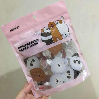Miniso Compressed Paper Mask We Bare Bears