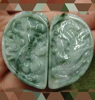 Liontin sepasang natural jade jadeite
