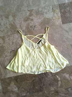 Bershka Yellow Crop top