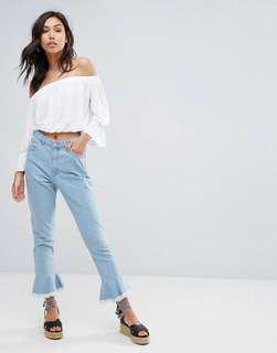 Moving OUT sale! Pretty little thing frill hem straight cut jeans