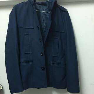 🚚 韓版窄版短版連帽外套 藍色s號