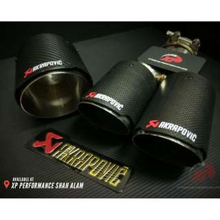 "Akrapovic Exhaust Tip 2.5"" inlet and 4"" outlet SINGLE TIP pure carbon fibre"
