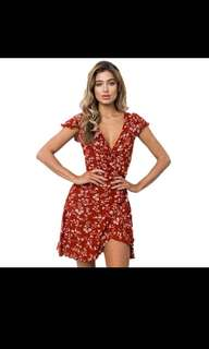 Red Flower Wrap Dress