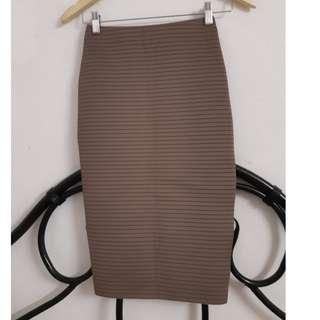 Taupe striped midi bodycon skirt