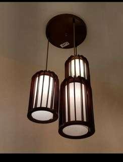 Solid Wood 3L Hanging Light