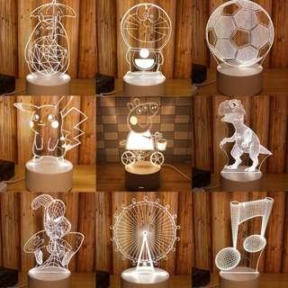 🚚 預購)卡通3D立體小夜燈 創意夢幻迷你小夜燈