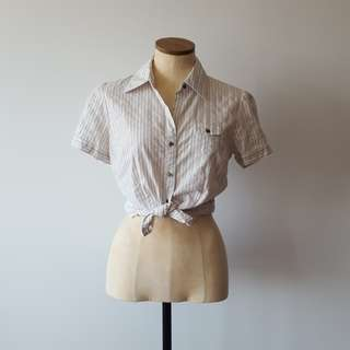 Striped Short Sleeved Button Up