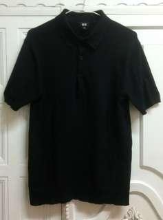 日本MUJI無印良品優衣庫UNIQLO海島棉美國棉全黑輕薄透氣舒適剪裁合身不緊身S號針織衫POLO衫