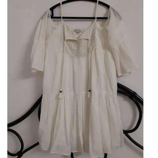 Cream bohemian dress with open shoulder