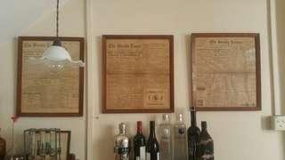 Vintage newspaper w frame (for rental)