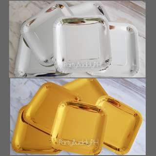 10pcs Premium Gold / Silver Paper Plate