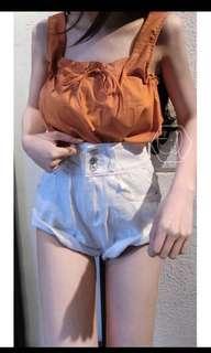 🚚 現貨A字牛仔短褲 三釦短褲 反折短褲 白色